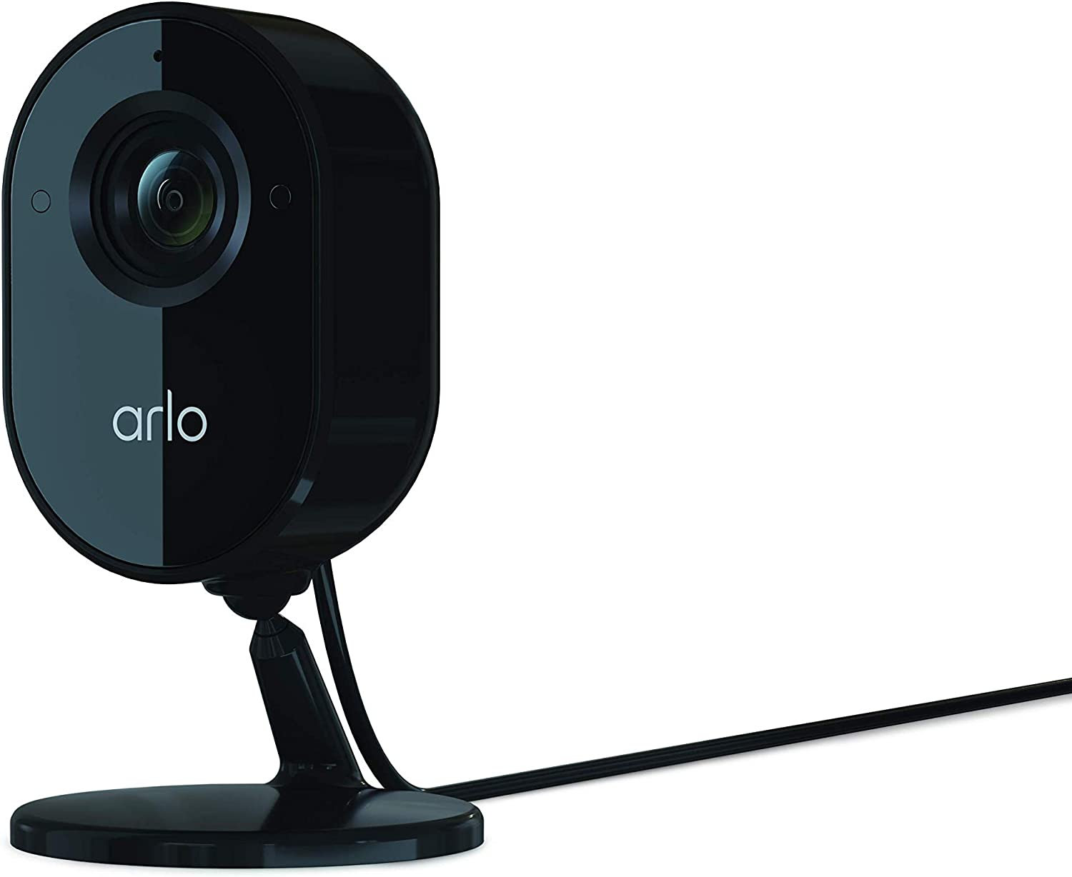 Arlo Essential Indoor Security Camera - 1080P Video Quality, 2-Way Audio, Package Detection, Motion Detection and Alerts, Built-in Siren, Night Vision, Wired, Compatible with Alexa, Black - VMC2040B