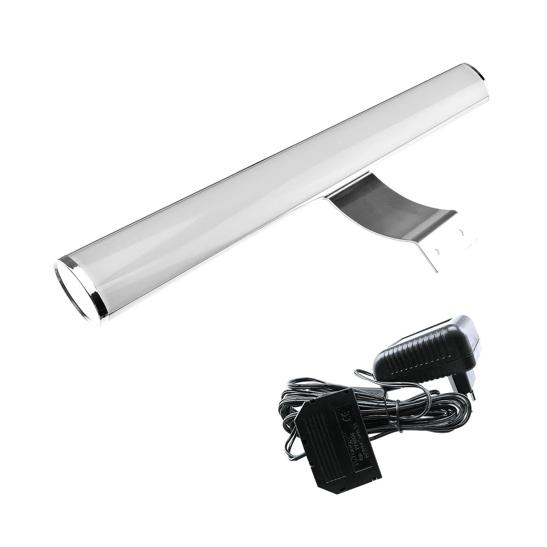Miró 400 LED Aufbauleuchte 400mm 6500K Kaltweiß - [ Spiegelleuchte Schranklampe Badlampe Badleuchte Wandleuchte Wandlampe Spiegellampe Beleuchtung Aufbauleuchte] (Mit Steckernetzteil)