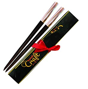 Wooden Hair chopsticks, The head of top inlay with Mother of Pearl by Hand, Unique Decorative Wooden Hair Sticks, Vintage Hair Sticks for Long Hair, Hair Sticks for Buns (Black Pearl sticks)