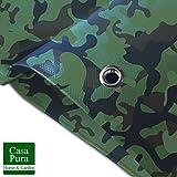 Bache Camouflage casa pura® Légère - Coins Renforcés | Bache de Protection | Résistant aux UV | Densité 100g/m² | Bache Militaire, 3x5m