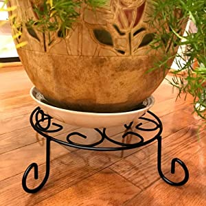 AMAGABELI GARDEN & HOME 10 inch Metal Potted Plant Stand Rustproof Iron Art Flower Pot Holder Rack Steel Short Planter Supports Trivet Floor Saucer Decorative Garden Pots Containers Stand Black