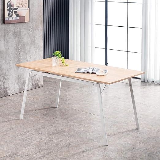 Oferta amazon: Mc Haus GASHIRA - Mesa Rectangular Comedor de madera Natural con estructura de Metal Blanca mate, Mesa Cocina Salón Diseño Moderno 160x80x75cm