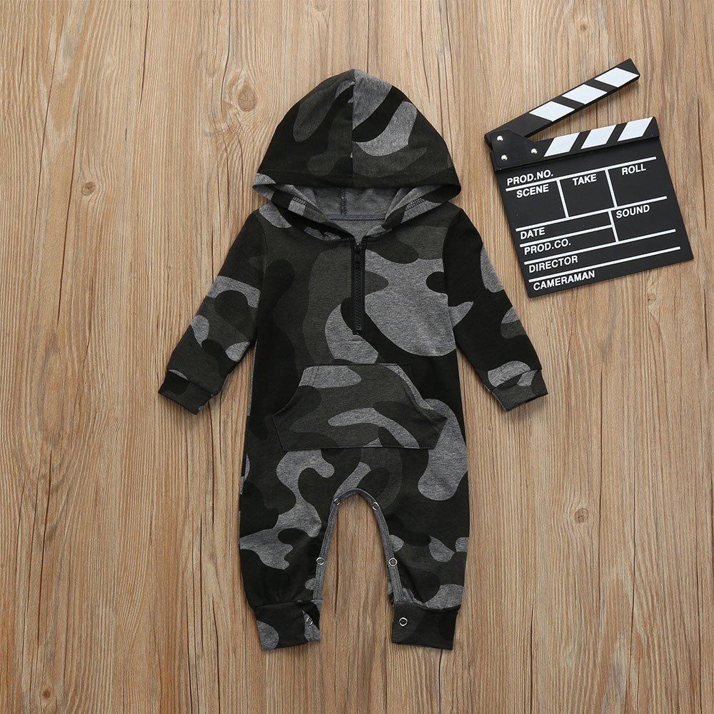 liYEZI Barboteuse B/éb/é Gar/çon Costume de Camouflage Mignon V/êtements /à Capuche 0-18 Mois