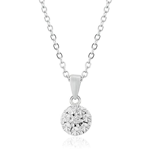 Amazon lumineux diamond womens diamond accent pendant lumineux diamond womens diamond accent pendant necklace in rhodium over sterling silver aloadofball Choice Image