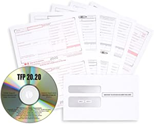 W2 Bundle with TFP 2020 Software, 50 W-2 6 Part Tax Forms for Employees, QuickBooks Compatible Laser Forms, Includes 2020 TFP Software Disc and 50 Self Seal Envelopes