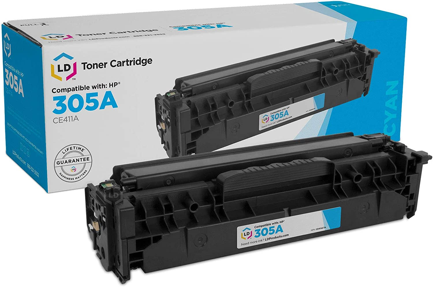 LD Remanufactured Toner Cartridge Replacement for HP 305A CE411A (Cyan)