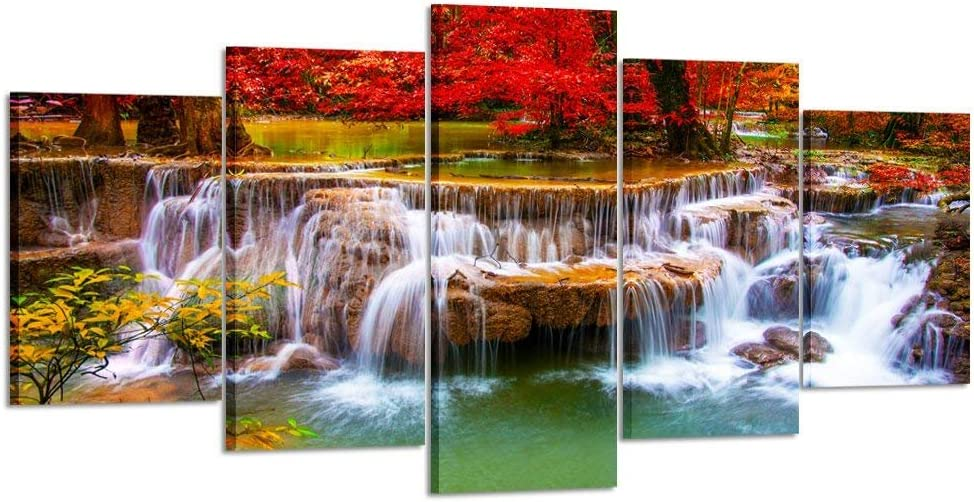 Kreative Arts XLarge Canvas Print for Living Room Decoration Stretched 5 Panels Green Dreamlike Waterfall Painting Wall Art Picture Print on Canvas- High Definition Modern Home Decor