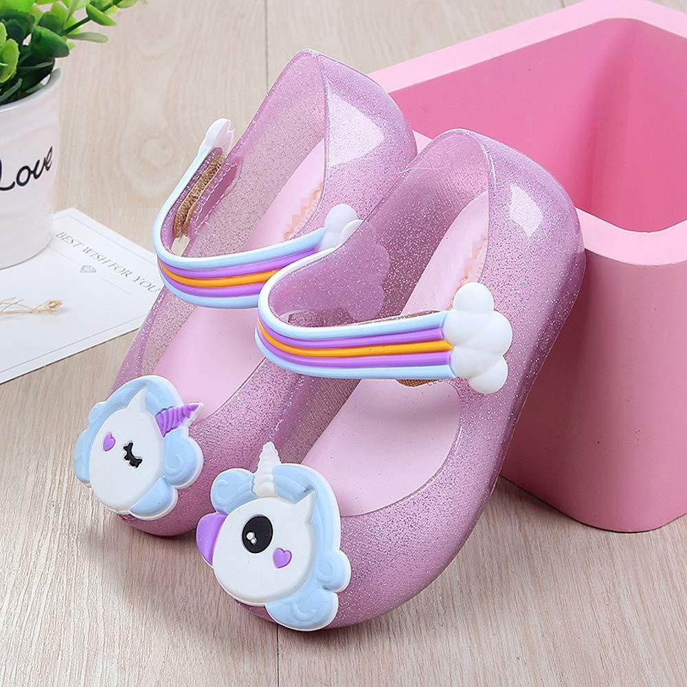 TTMOW Toddler Little Kid Girls Princess Cute Unicorn Anti-Slip Jelly Shoes Flat