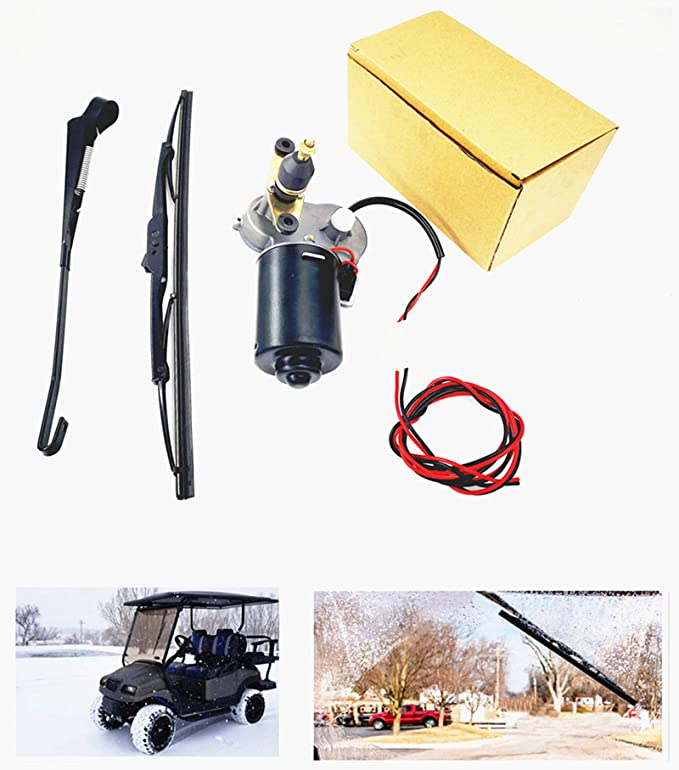 12V Electric Motor Universal UTV windshield Wiper Kit with Washer Pump Kit For Polaris Ranger RZR 800//900//1000,Can Am Commander,Honda Pioneer,Kawasaki Mule//Teyrx Snowplow,Tractors,Golf Cart,Tricycle