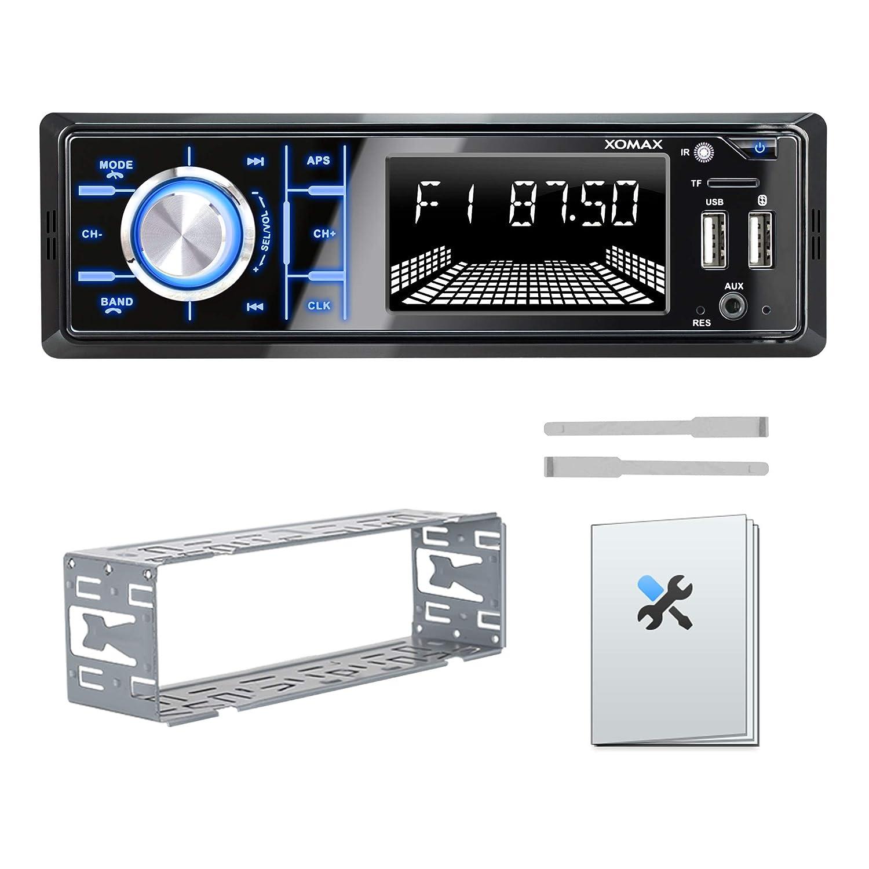 AUX I 1 DIN FM I 7 Colores de iluminaci/ón I 2X USB SD XOMAX XM-R268 Radio de Coche con Bluetooth I Carga del tel/éfono m/óvil a trav/és del Segundo Puerto USB I Sintonizador de Radio RDS