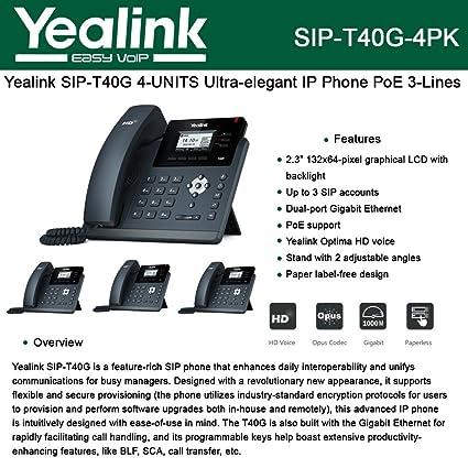 Amazon com : Yealink [4-Pack] T40G IP Phone, 3 Lines  2 3