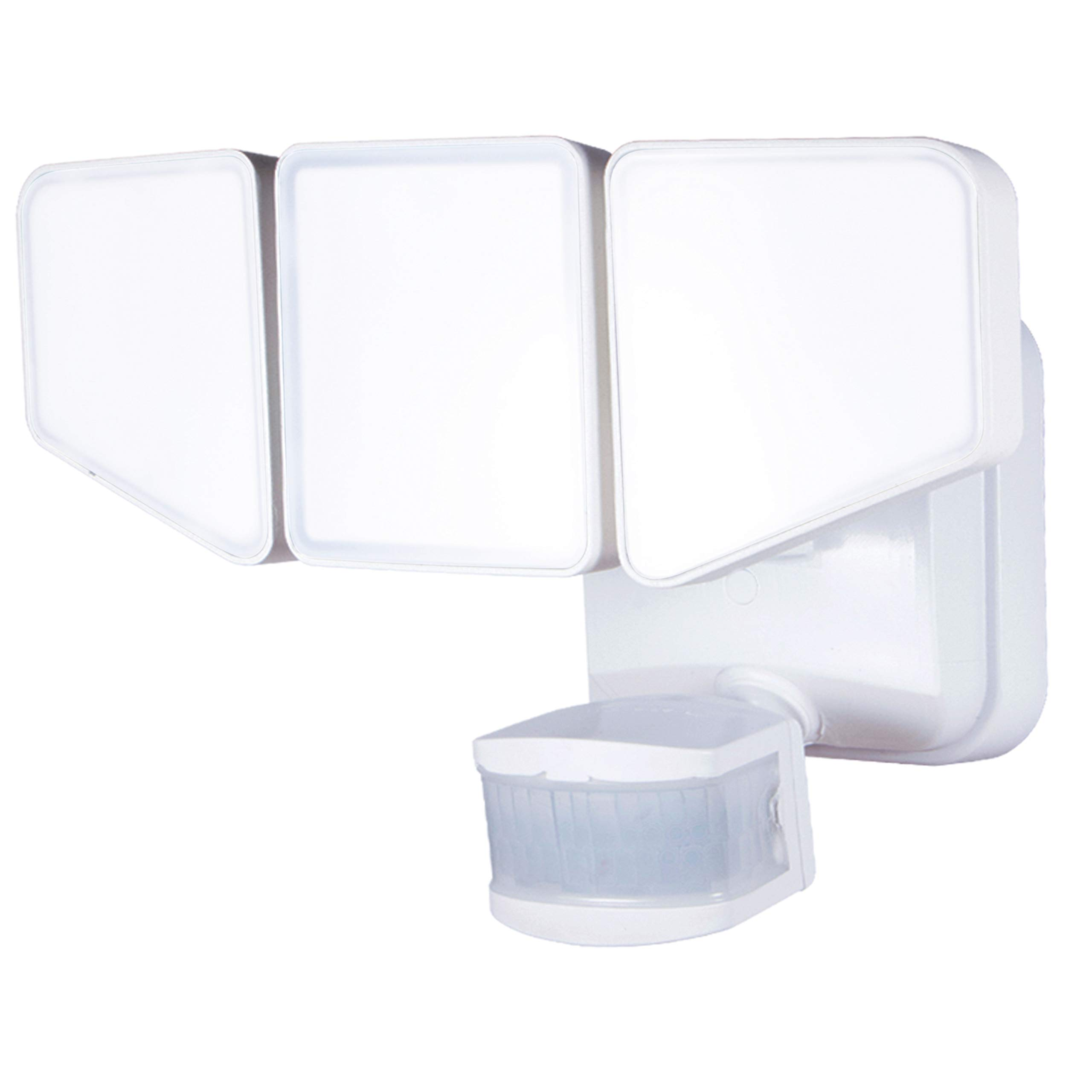 Enbrighten 40939, LED Outdoor Flood Security Light with Motion Sensor and Accent Light, Up to 3100 Lumens, 43W, Three Adjustable Heads, Selectable Accent Light Color 2200K-5000K, White Finish