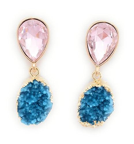 74939f8e54dd Pendientes Cristales Colores Mujer Fiesta Boda Pendientes Elegantes Forma  Lágrima y Dorso Chapado Oro