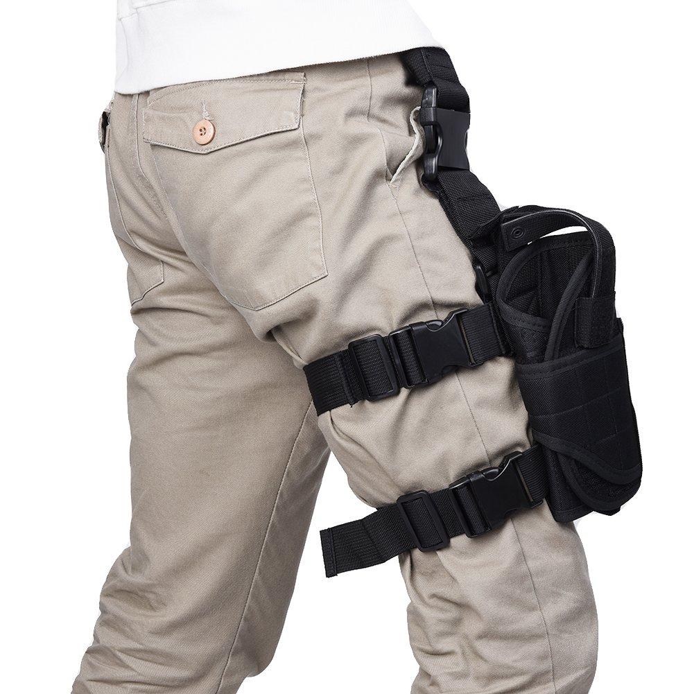 runacc調節可能タクティカルピストルガンホルスター右利きドロップレッグホルスター、最適の狩猟、シューティング、ブラック B0771M5DGT