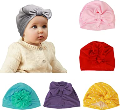 Newborn Baby Soft Cotton Cute Baby Hat Indian Turban Floral Caps Head Wraps