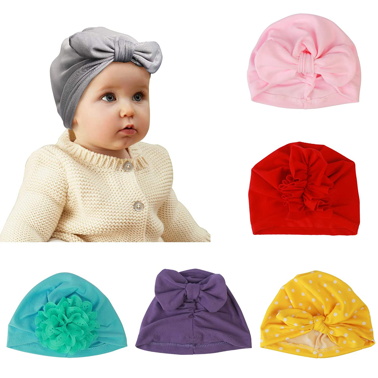 0fd75d0e9 ZoomSky Baby Girl Turban, 6pcs Soft Knot Bow Cap Newborn Hat India Toddler  Cap for The Baby from 3 to 12 Months