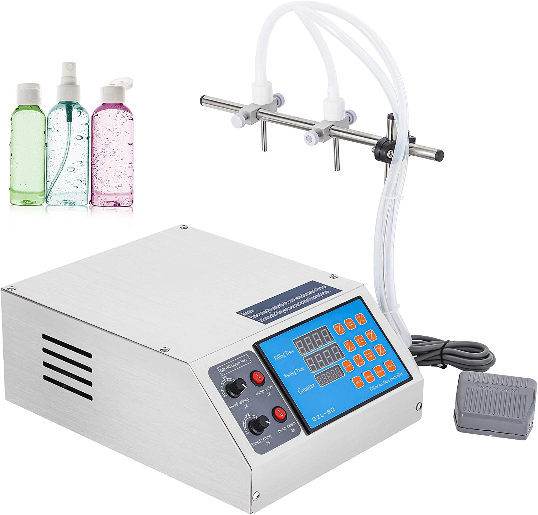 Hanchen Liquid Filling Machine Electric Digital Control Filler Pump 3-4000ml Bottle Filler for CBD, MCT Oil, Milk, Beverage, Water, Juice, Essential Oil with 2 Heads110v