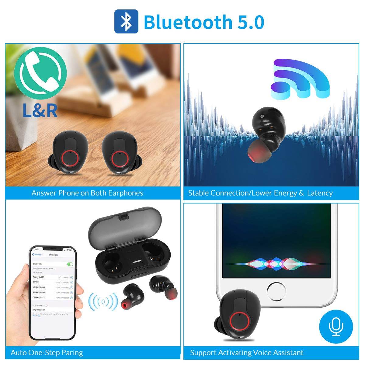 Waterproof Bluetooth 5.0 Wireless Earbuds with Portable Charging Case, Mini in-Ear Earphones Invisible Dot 3D Stereo Sound Earbuds, Sport Headphones with Built-in Mic