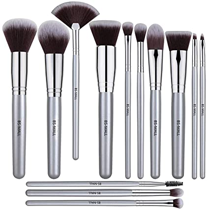 Buy BS-MALL 12 PCS Makeup Brush Set Premium Synthetic Silver Foundation Blending Blush Face Powder Brush Makeup Brush Kit Online at Low Prices in India ...