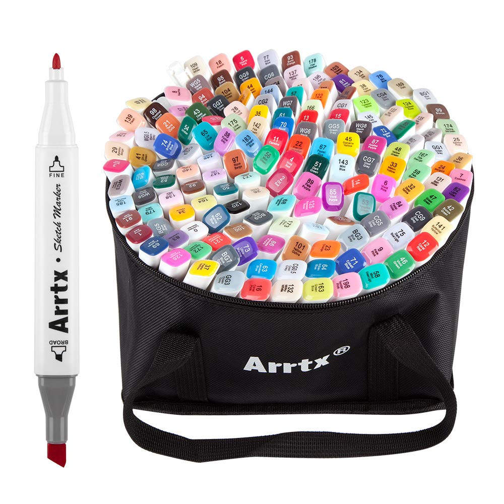 Arrtx 168 Colors Alcohol Based Dual Tip Markers Set, Artist Sketch Marker Pen with Marker Carry Bag for Graphic Drawing Painting Design Coloring Highlighting