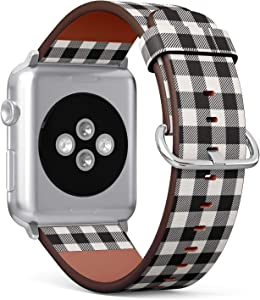 Compatible with Small Apple Watch 38mm & 40mm (All Series) Leather Watch Wrist Band Strap Bracelet with Stainless Steel Clasp and Adapters (White Black Lumberjack Plaid)