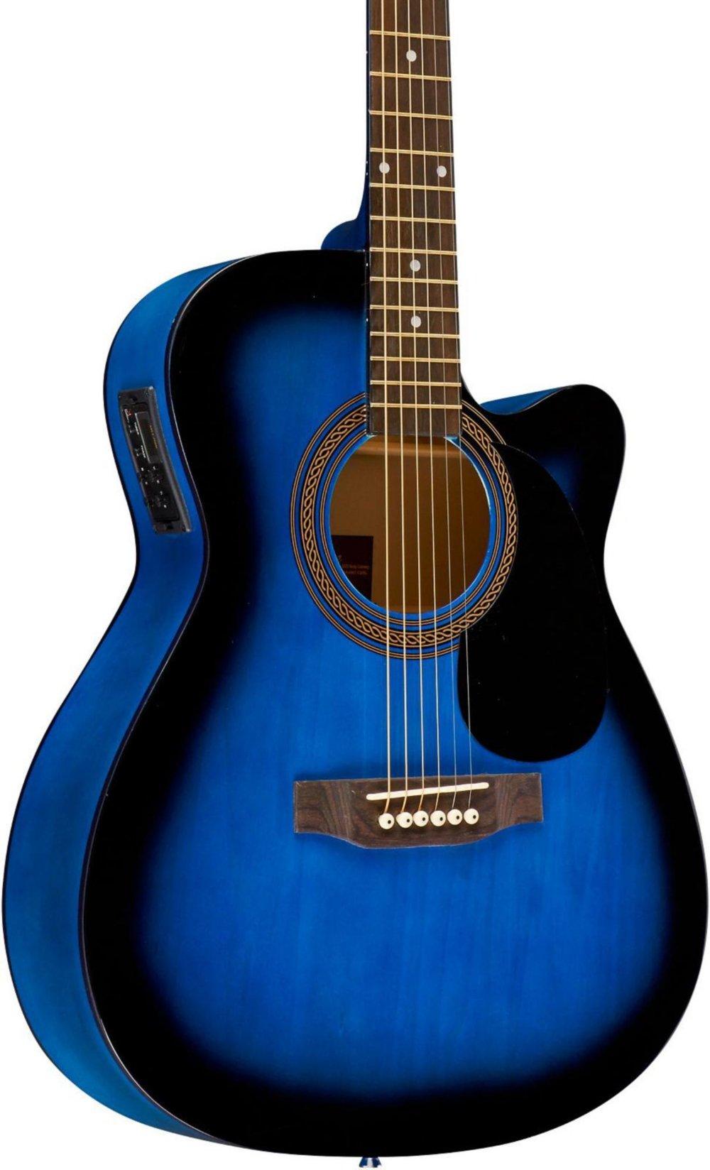 Rogue RA-090 Concert Cutaway Acoustic-Electric Guitar Blue Burst