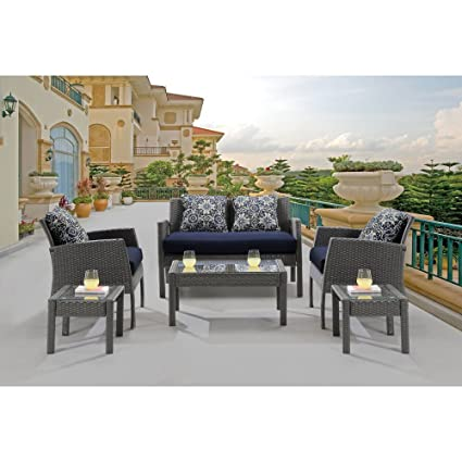 Amazing Hanover Chel 6Pc Nvy Chelsea 6 Piece Patio Set Navy Blue Outdoor Furniture Cjindustries Chair Design For Home Cjindustriesco