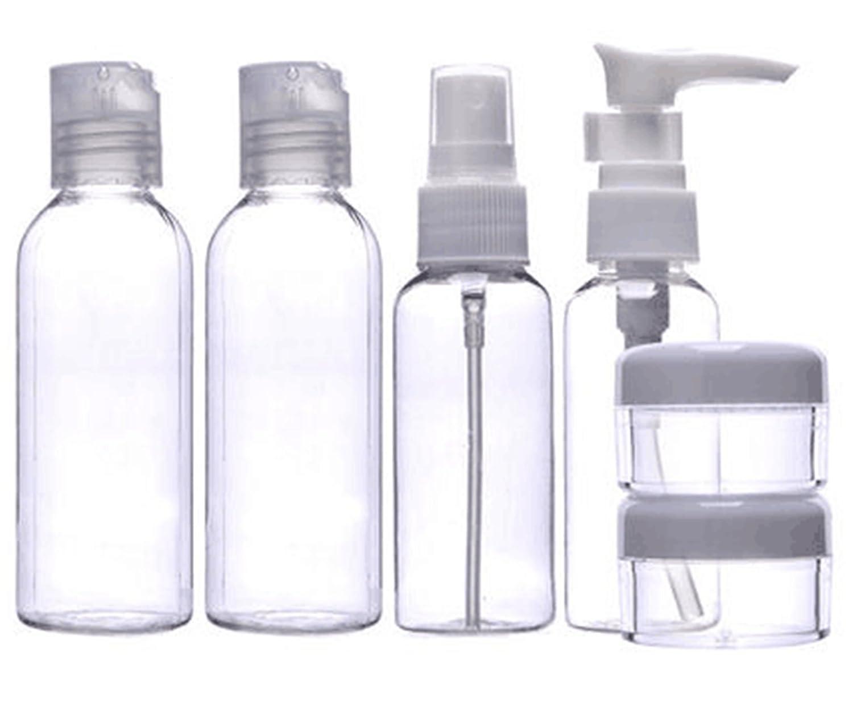 MEISHINE® 6 Pezzi Trasparente Bottiglie Set da Viaggio Aerei in Plastica Contenitori da Viaggio Bottiglie Vacanza Bottiglie Cosmetico Spray Bottiglie per Shampoo, Balsamo, Crema, Lozione MSTG