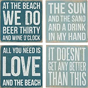 "Primitives By Kathy Square Drink Coaster Set, 4"", Beach"