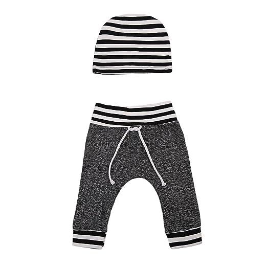 9c1c4891d7d1 Amazon.com: ABEE Newborn Baby Boy Warm Striped Long Pants + Hat 2Pcs ...