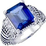 Sterling Silver Created Blue Sapphire Ring (6 CT) In Size 7