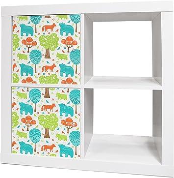 yourdea – Pegatina para habitación de los Niños Muebles para Ikea Expedit/Kallax. Con Diseño: Oso zorro bosque: Amazon.es: Iluminación