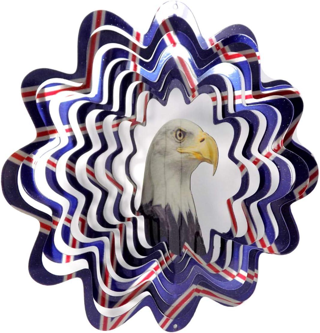 WorldaWhirl Whirligig 3D Wind Spinner Eagle Patriotic Bird Yard Twister Hand Painted Stainless Steel (12 Inch)