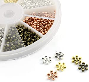 NX Garden Tibetan Snowflake Spacer Beads 264PCS 6 Colors 8mm Alloy Flower Rondelle Loose Beads for DIY Jewelry Craft Making