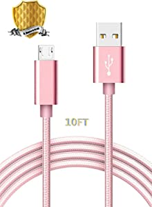 Micro USB Cable, Linwood Nylon Braided Android Charger Cord USB2.0 Sync Charging Cables Rose Gold Compatible with Samsung, HTC, Motorola, Nokia, HP, MP3, Android Tablets &More (10FT 1PACK)