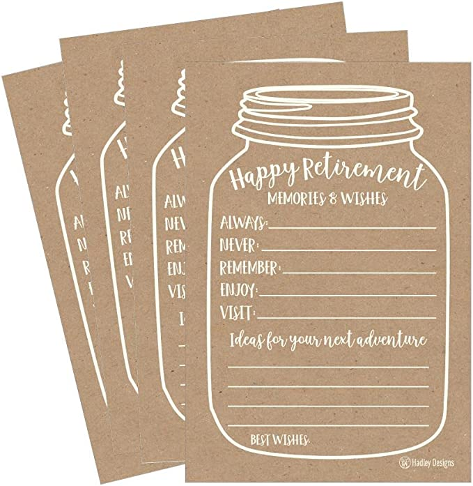 Amazon Com 25 Kraft Retirement Party Advice Well Wish Card For Men Women Retired Rustic Supplies And Decoration Happy Retiree Celebration Gift Bucket List Wish Jar Funny Personalized Officially Set Centerpiece