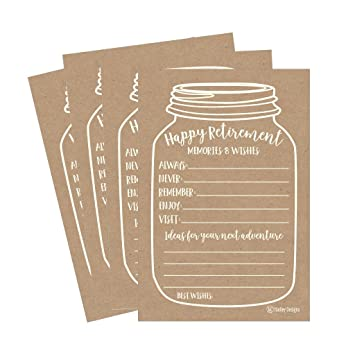 25 Kraft Retirement Party Advice Well Wish Card For Men Women Retired Rustic Supplies And Decoration Happy Retiree Celebration Gift Bucket List Wish Jar Funny Personalized Officially Set Centerpiece Amazon In Office Products
