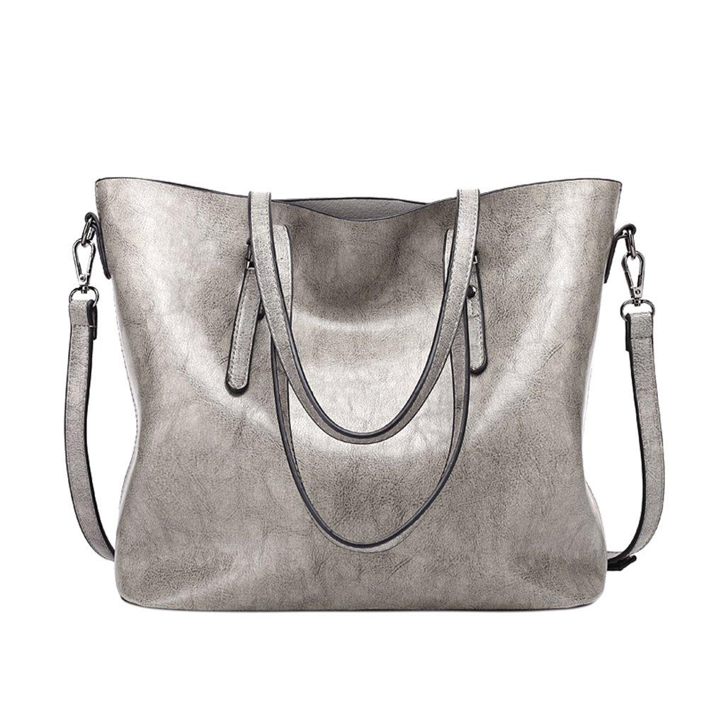 Meiyiu Women's Retro Oil Wax PU Solid Color Bucket Bag Tote Bag Satchel Handbag Shoulder Bag Gray