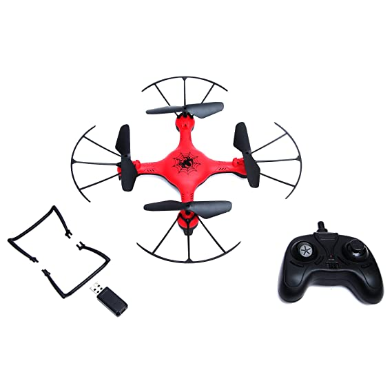 Wembley Toys Pro Quad Drone with 2.4 Ghz Remote Control, Blade Guard, Headless Mode and LED Spinner (Spiderman)