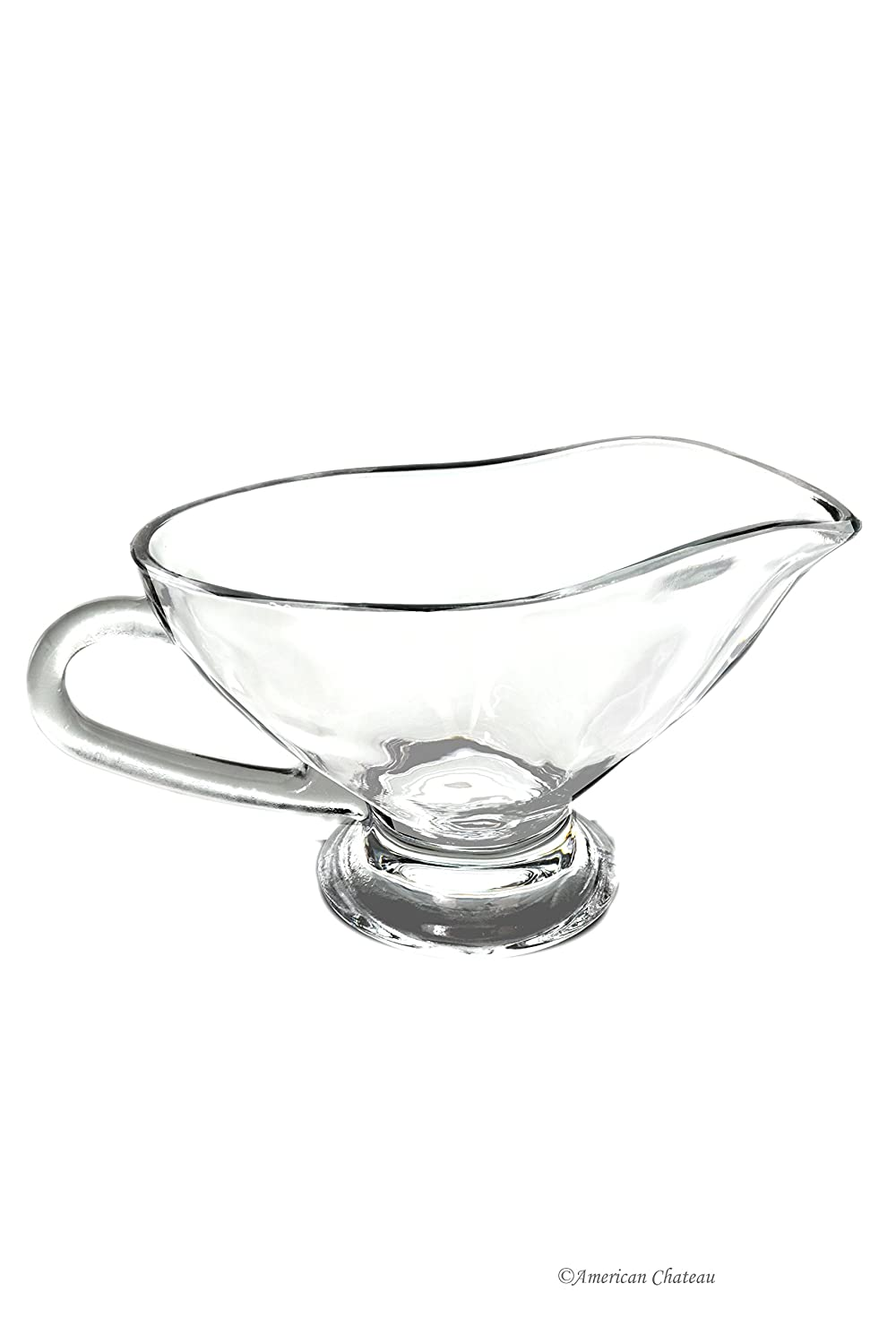 Large 10oz / 300 ml Clear Thick Glass Gravy Sauce Bowl Boat with Large Handle American Chateau