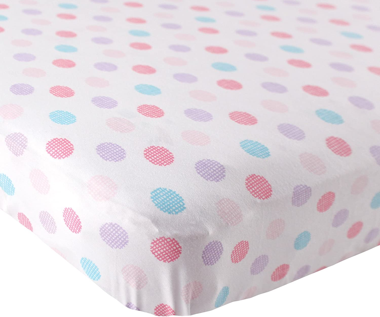 Pink Luvable Friends Fitted Knit Cotton Crib Sheet Crosshatch Dot