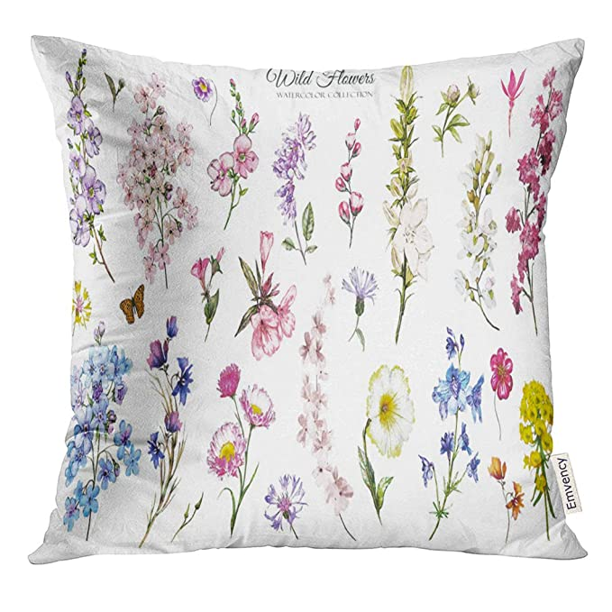 Amazon.com: Golee Throw Pillow Cover Blue Vintage Big Watercolor Wild Flowers Herbs Collection Meadow Branches White Botanic Green Bouquet Decorative Pillow ...