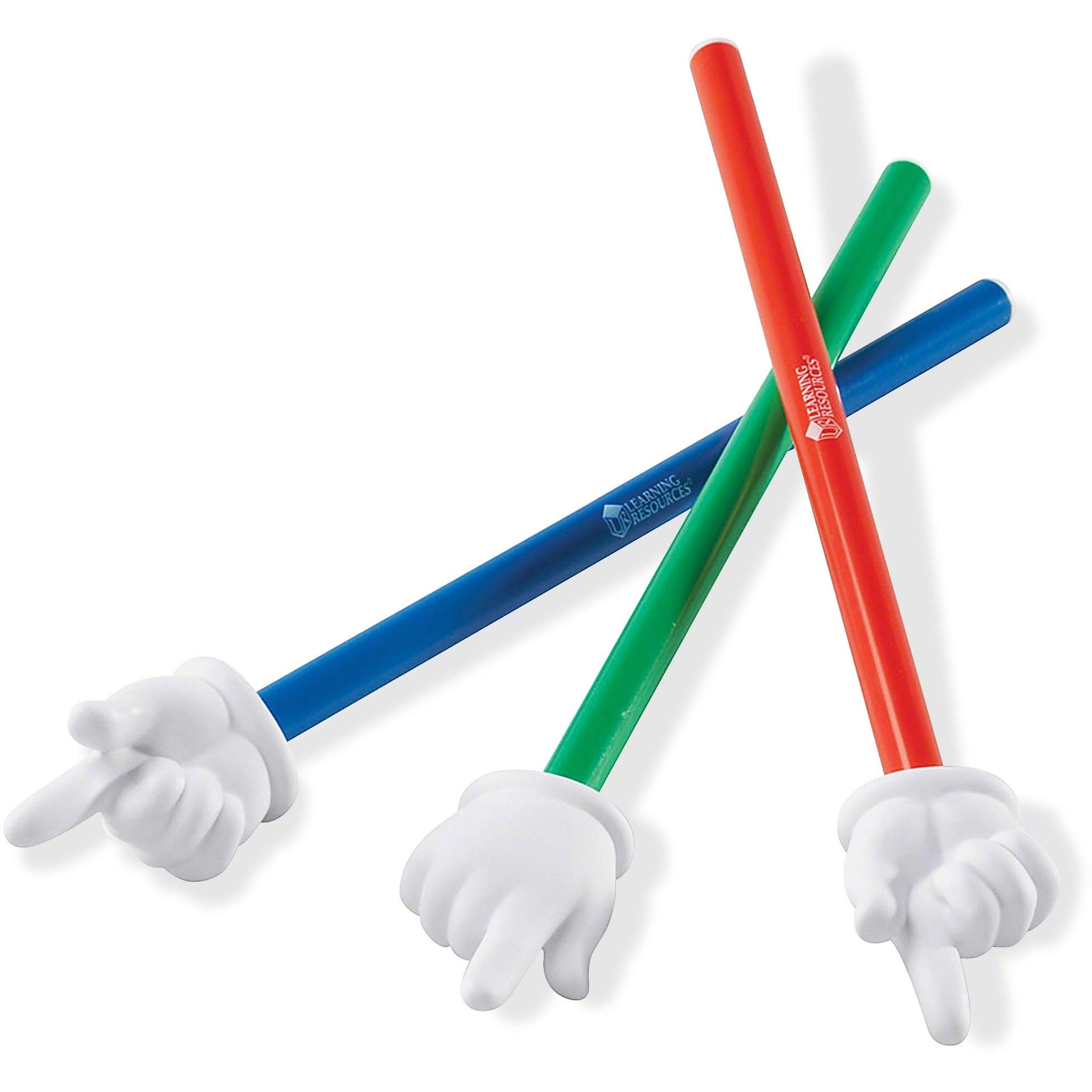 Learning Resources Hand Pointers, Assorted Colors, Classroom Participation, Homeschool Supplies, Classroom Supplies, Gifts for Teachers, Set of 3, Ages 3+