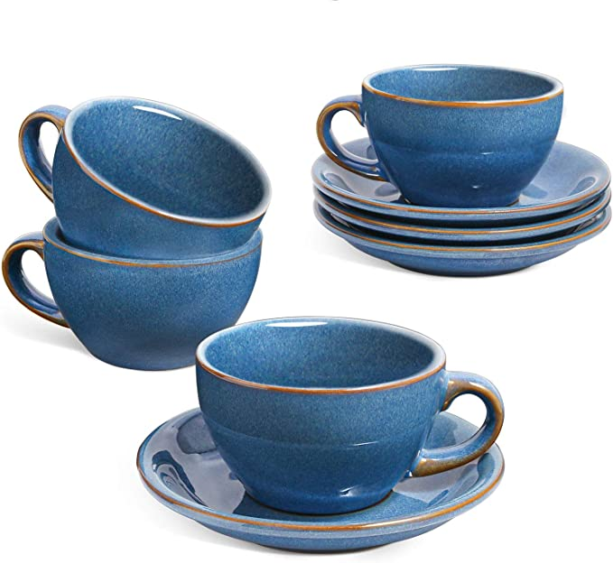 LE TAUCI 6 oz Cappuccino Cups with Saucers