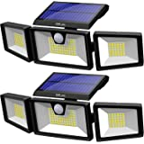 KOLYES Solar Lights Outdoor - 2 Pack, 132 LED 1000LM Bright Wireless Solar Motion Sensor Lights Outdoor with 3 Lighting Mode,