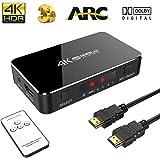 SOWTECH 4 x 1 HDMI Switch 4K avec Audio Optical TOSLINK Out - 4 Ports Ultra HD 4K x 2K HDMI Commutateur Audio Extractor avec Télécommande IR [Supporte ARC | 3D 1080p] pour Macbook/HDTV/Laptop