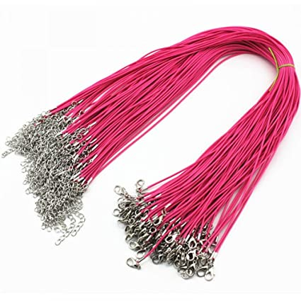 MAXGOODS 100PCS Red Waxed Leather Cord Necklace Bulk with Lobster Clasp,DIY Jewelry Cord /& Necklace Making Cord with Free Pendants