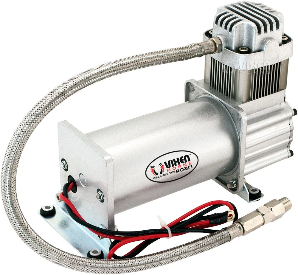 Vixen Horns 150 PSI Heavy Duty Train Horn/Suspension/Air Ride/Bag Air  Compressor/Pump with 1/4'' Stainless Steel Braided Hose and 1/4'' NPT Check