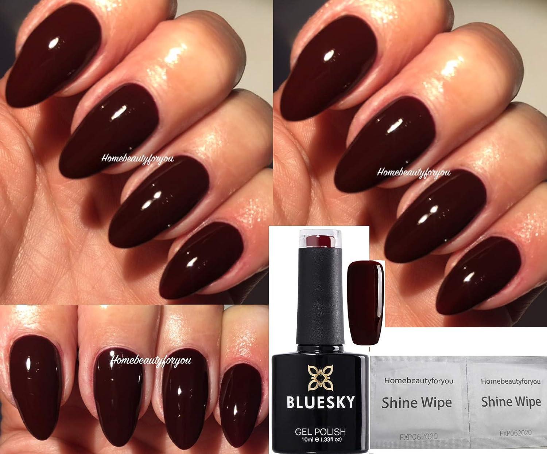 Bluesky A39 Ox Blood Red Burgundy Maroon Nail Gel Polish UV LED Soak Off 10ml PLUS 2 Luvlinail Shine Wipes LTD
