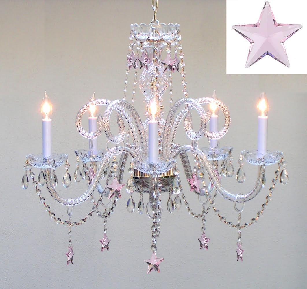 Swarovski Crystal Trimmed Chandelier! Crystal Chandelier Lighting with Pink Crystal Stars H25'' X W24'' - Nursery, Kids, Girls Bedrooms, Kitchen, Etc!